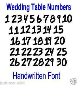 Wedding table numbers 1 30 handmade font vinyl decal for Table th font color