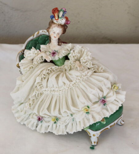 Volkstedt  Dresen Porcelain Lace Figurine Woman Sitting in Chaise