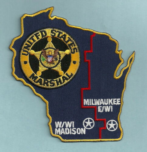 UNITED STATES MARSHAL MADISON-MILWAUKEE WISCONSIN SHOULDER PATCH STATE SHAPED
