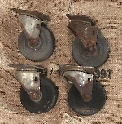 4 Vintage Iron Swivel Plate Heavy Industrial Casters Decor Art Deco Steampunk