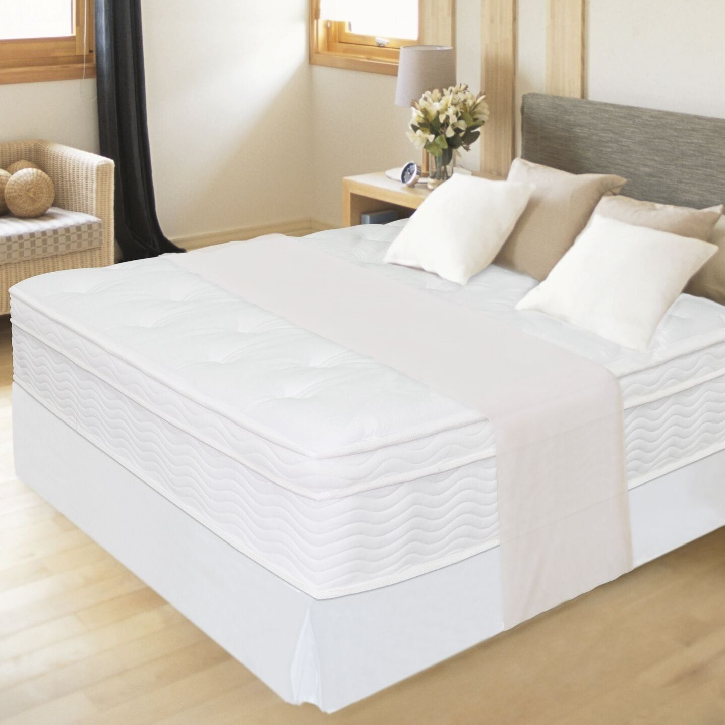 """Night Therapy 12"""" Spring Mattress & Steel Bed Frame KING QUE"""
