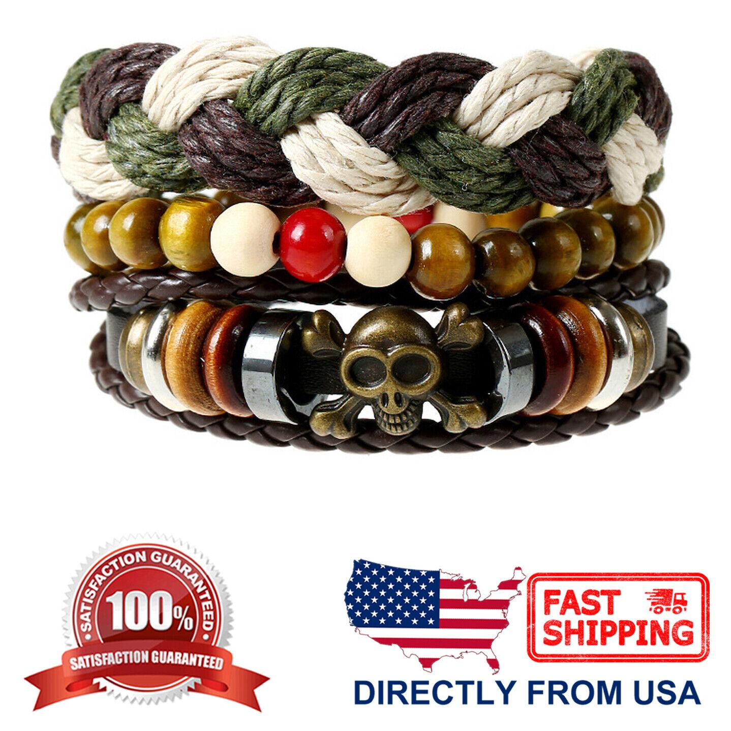 Men's Skull and Tribal Wood Beads Braided Leather 3pcs Set Wristband Bracelet Bracelets