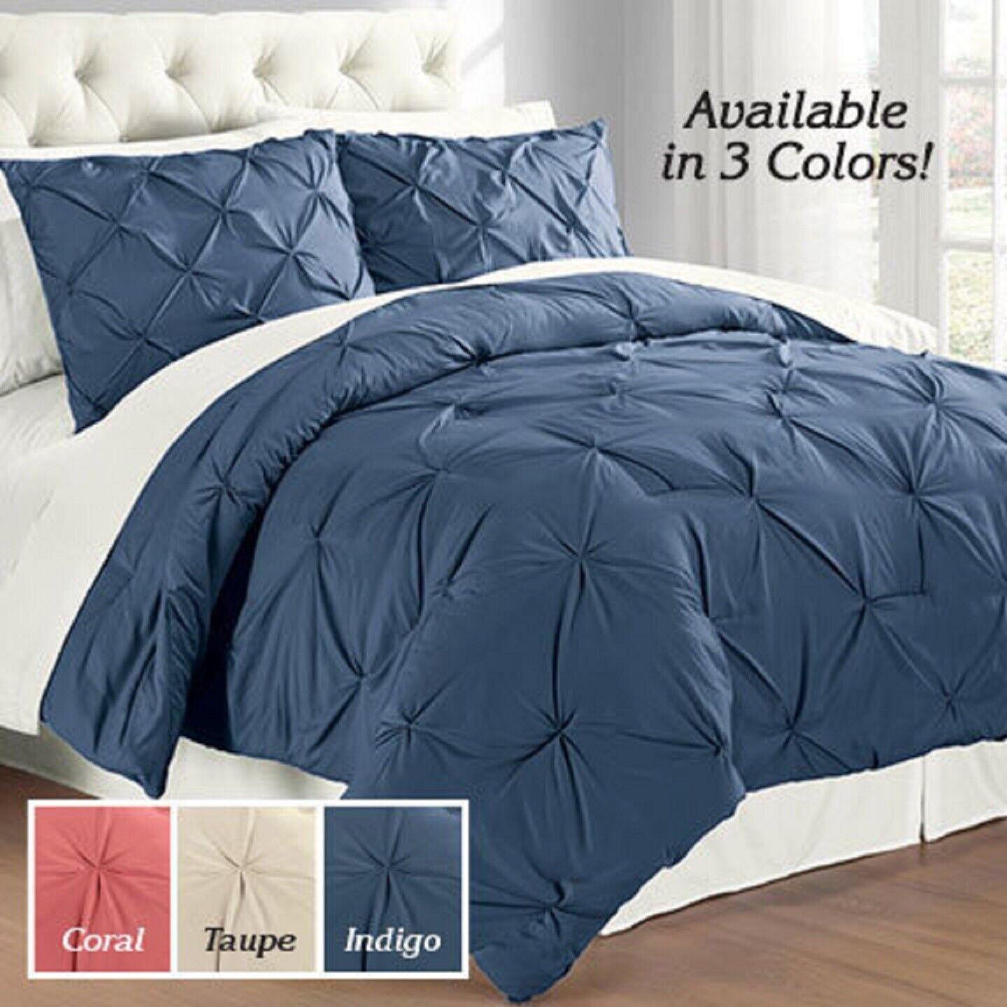 Solid Pintuck Comforter Set 3 Piece King Queen Full Choose Color Modern Living Bedding