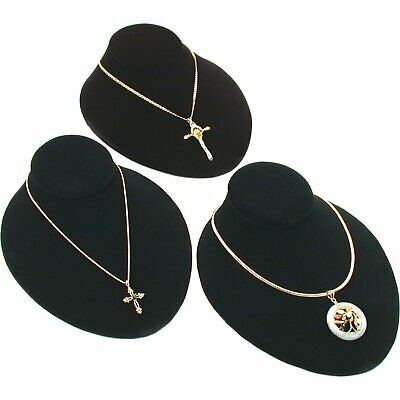 3pc Black Velvet Jewelry Display Bust Chain Necklace 8