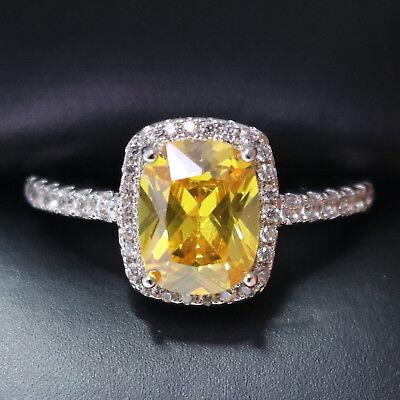 Yellow Citrine Diamond Halo Ring Women Jewelry White Gold Plated
