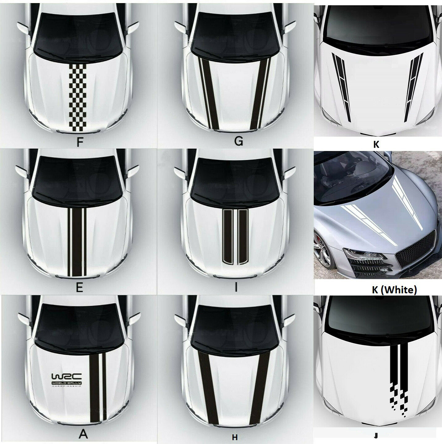 Universal Fit Racing Hood Stripes Decal Vinyl Stickers for Car SUV Truck