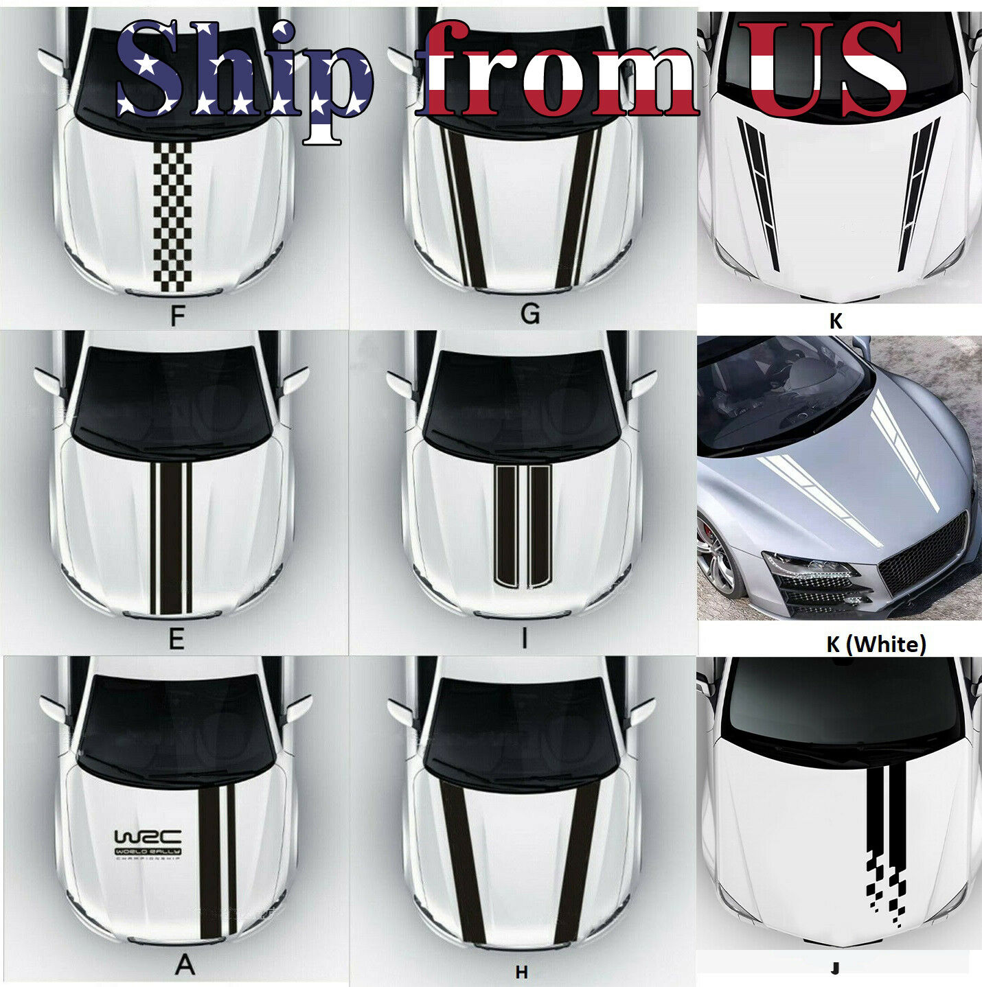 Racing Hood Stripes Decal Vinyl Stickers for Car SUV Truck Universal Fit