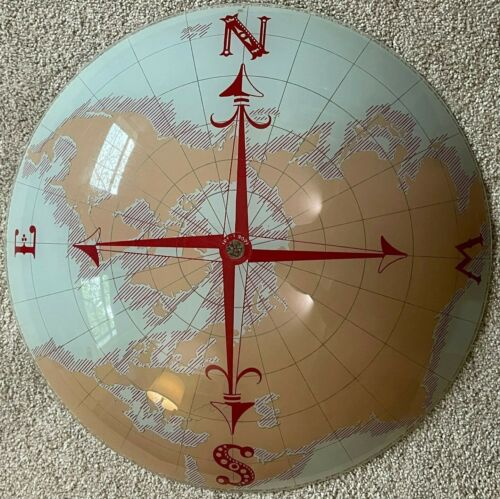 VTG Ceiling Light Cover Nautical Compass World Globe Map Glass Shade