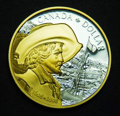 2008 silver dollar celebrating the 400th anniversary of Quebec city - from set