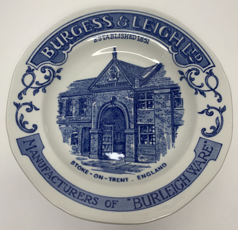 """Burgess & Leigh Stoke On Trent Burleigh Ware Blue & White Advertising Plate 6.5"""""""