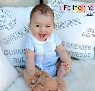 SEWING PATTERNS Paper Pattern Gingham ROMPER baby Newborn easy sewing babies DIY (Diy Easy Crafts)