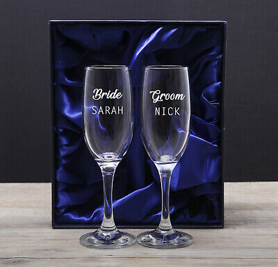 Personalised Champagne Flutes Glasses Engraved Wedding Gifts for Bride and - Champagne Glasses For Wedding