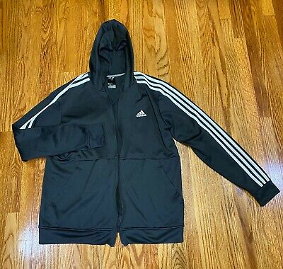 Adidas Mens Climawarm Black Track Hooded Sweater Full Zip Sz M Flaw Used