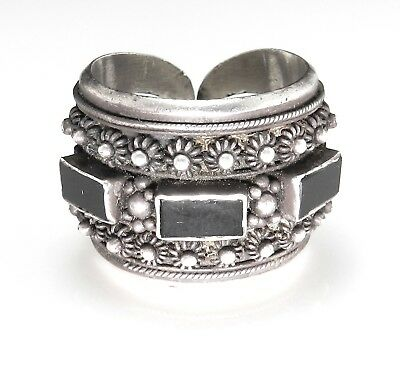 (Etruscan Style Sterling Silver & Black Onyx Wide Band Ring - Size 11)
