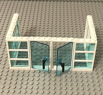 Lego 2 Trans-light blue 1x4x6 Glass Door,6 Window Walls W/ 3 Panes White Frames