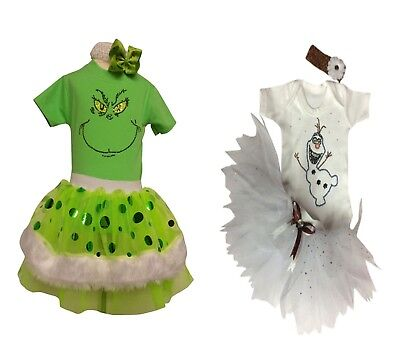 Sparkle XMAS Grinch Olaf Frozen Christmas Tutu Set Girls Baby 80s Fancy Dress