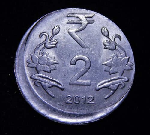 India 2 Rupees 2012 **Broadstuck or Off Center Strike** Nice UNC Error Coin!