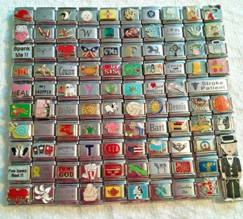 100 Piece ITALIAN  CHARMS 9mm lot # 444 No duplicates -FREE SHIPPING