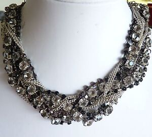 Chunky Fancy Choker Necklace Black, Silver Chains and Diamante BNIP!
