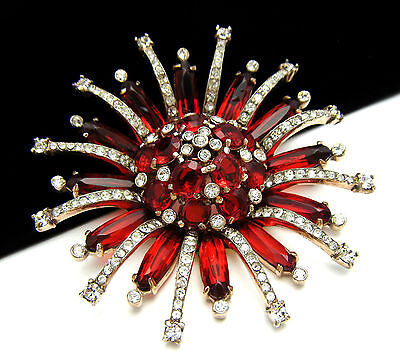 Vintage Rhinestone Brooch Sterling Vermeil Red Glass Atomic Unsigned Designer on Lookza