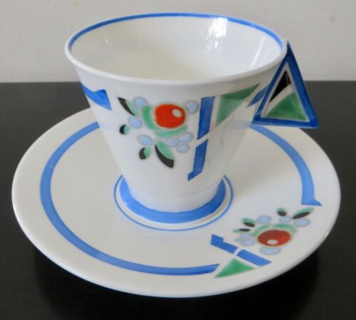 "VTG. ART DECO SHELLEY MODE TRUNCATED  BLUE ""J ""  PORCELAIN CUP & SAUCER 1930"