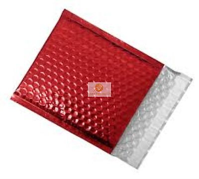 100 Red Metallic Bubble Wrap Lined Padded Mailing Gift Envelope / Bag CD Size