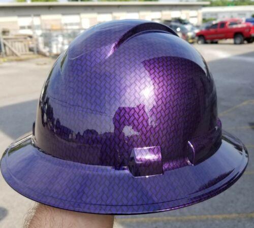 Hard Hat FULL BRIM custom hydro dipped , OSHA MOPAR PLUM CRAZY CARBON FIBER 4