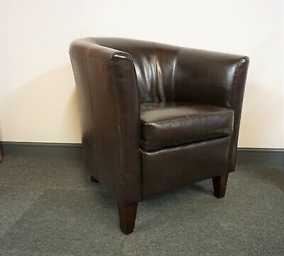 Brown Bonded Leather Tub Chair /  Armchair - collect only