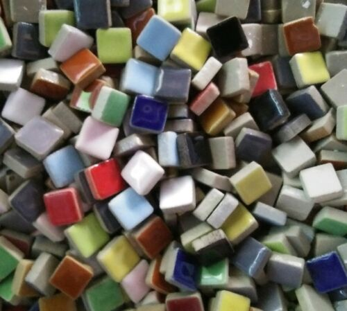 100 tiles - 3/8 inch - Assorted Mixed Colors Ceramic Mosaic Tiles - DTI - Crafts
