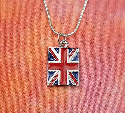 British Flag Necklace, United Kingdom England Union Jack Enamel Charm Pendant British Classic Jewelry