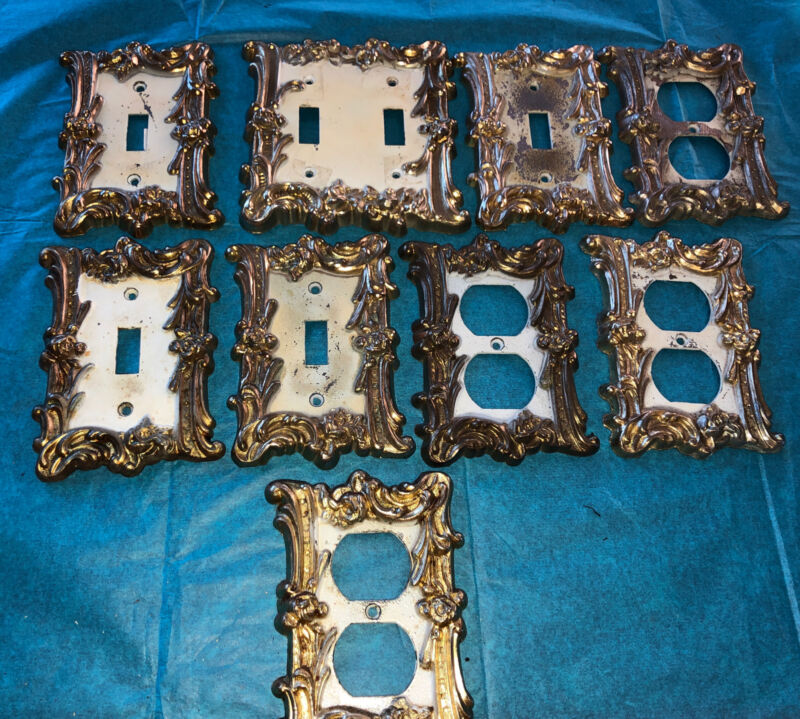 9 Ornate Floral Ornate Brass Metal Electrical Outlet Light Switch Plate Covers