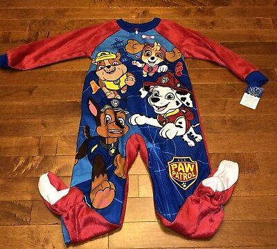 Paw Patrol Toddler Boy Red Footed Blanket Sleeper Pajamas New 4T ()
