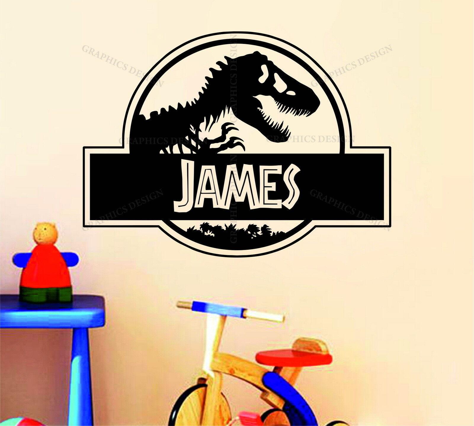 Personalised jurassic park name dinosaur decor vinyl wall for Best 20 jurassic park wall decal