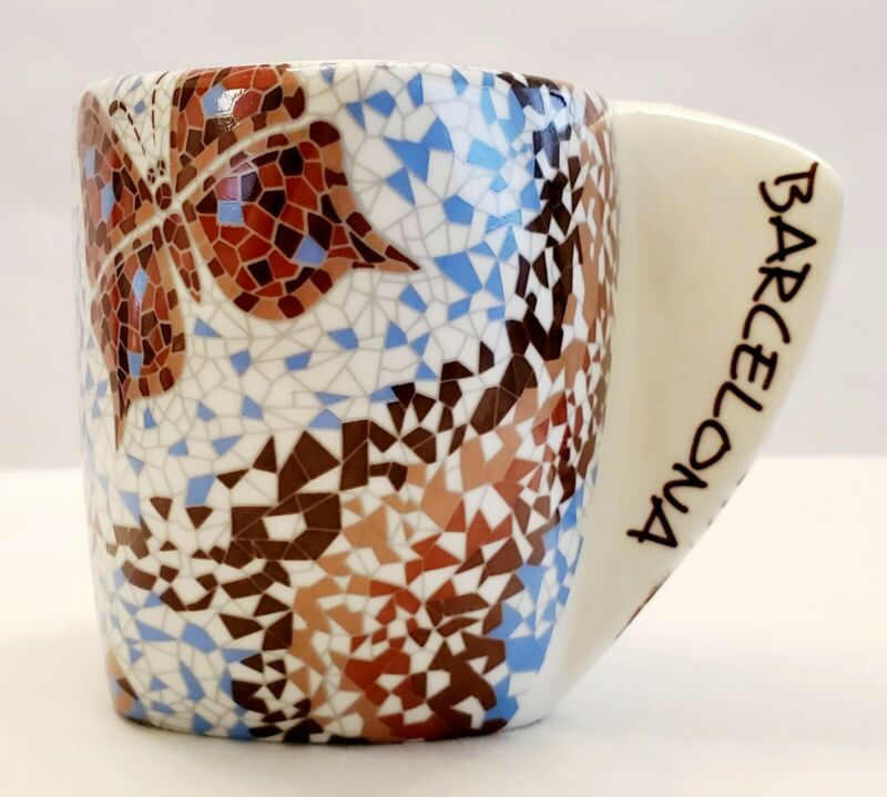 Barcelona Mosaic Mug A. Gaudi Triangular Unique Handle Ceramic White Brown Blue