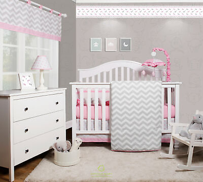 6-Piece Pink Grey Chevron Baby Girl Nursery Crib Bedding Sets By OptimaBaby