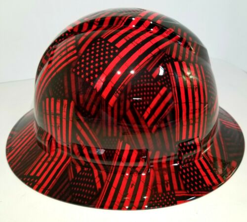 FULL BRIM Hard Hat custom hydro dipped , NEW CANDY RED USA FLAG FIREMANS FLAG 1