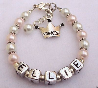 - Bracelet Girls Baby Child Name Personalized Pearl Princess Charm Pink White