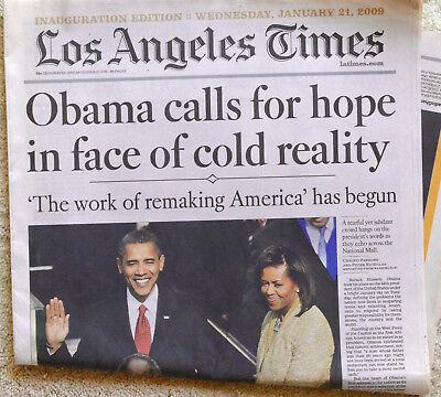 Inaugural Edition La Times 1 21 09 Obama Barack   Michelle Section A Only Origin