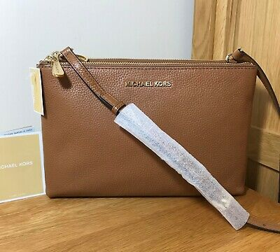 *BNWT* MICHAEL KORS *Jet Set* Acorn Leather Vanilla Logo Cross Body Bag RRP £240