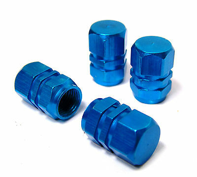 Blue Car Tyre Wheel Alloy Dust Valve Cap Cover Set Of 4 Aluminium Caps Vauxhall