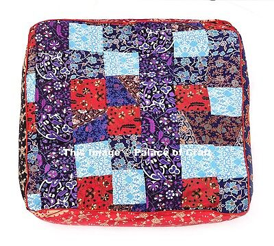 Indian Square Ottoman Cushion Dog Bed Boho Mandala Patchwork Floor Pillow Cover