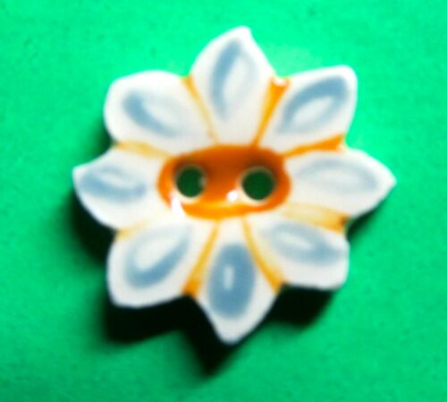 """(1) 5/8"""" YELLOW BLUE ON WHITE FLORALCERAMIC 2-HOLE BUTTON (D70)"""