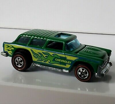 Hot Wheels Redline Alive '55 Green Flying Colors  Nomad With Capped Rear Wheels
