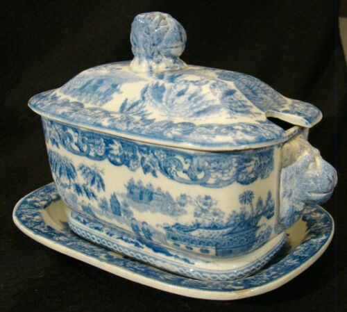 Staffordshire Blue John Rogers Chinese Fishing Sauce Tureen, Cover & Stand 1814+