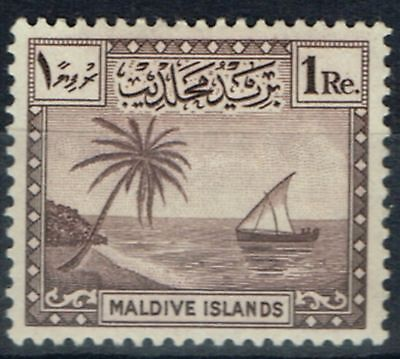 Maldives 1950 1R Chocolate SG29 Fine Mtd Mint