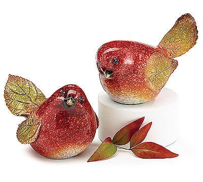 New Pair Burgundy Bird Figurines Oil Painted Ceramic Decor GIFT burton+BURTON
