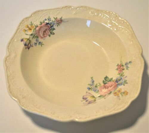 Papoco 8 inch bowl Paden City Pottery Co multi-color flowers embossed