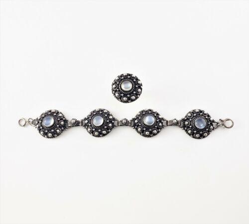 Vintage Etruscan Style Sterling Silver Moonstone Bracelet and Ring Set #7713