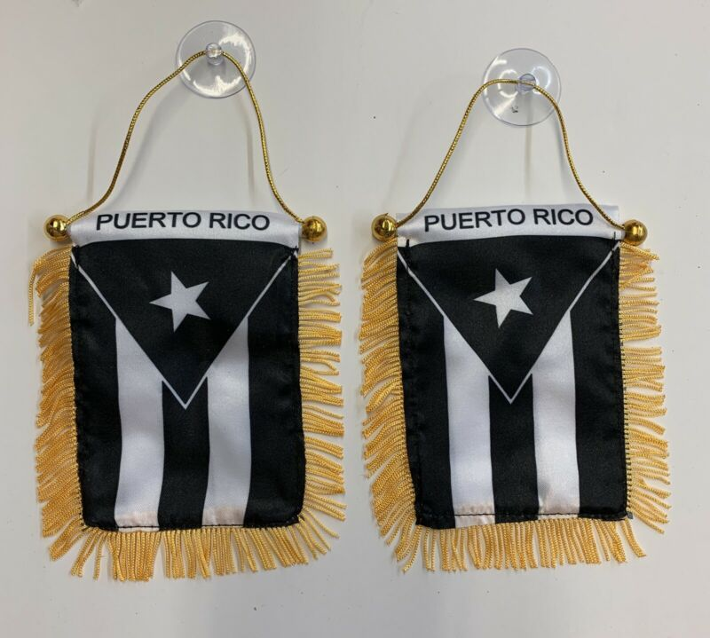 Puerto Rico Black Flag Mini Banner 2 Pieces.