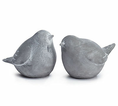 Pair Whitewashed Cement Bird Figurines Contemporary Decor Burton+Burton Gift